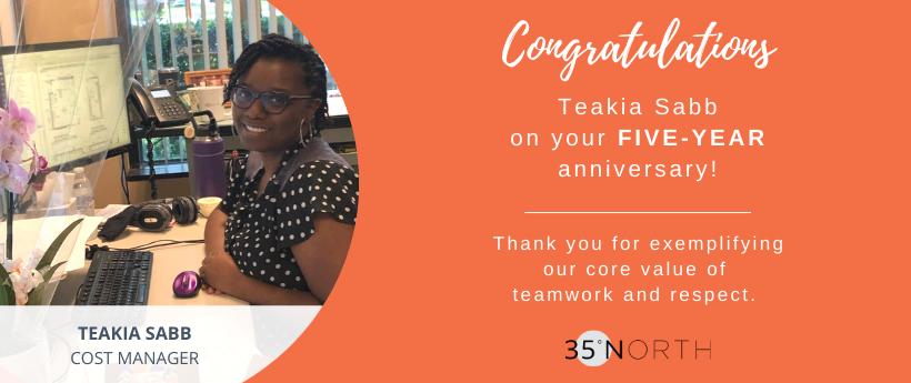 35 North Celebrates Teakia Sabb's Five-Year Anniversary